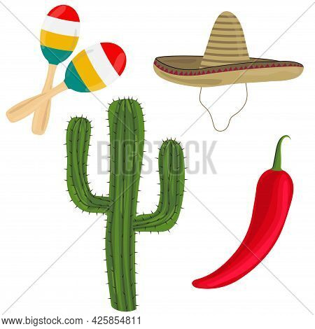 Mexican National Items On A White Background