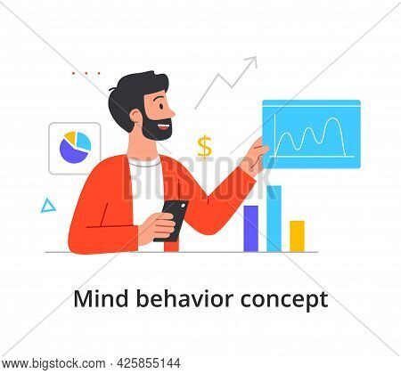 Concept Of The Type Of Mental Thinking With A Man With An Analytical And Mathematical Mindset. Beard