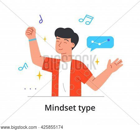 Mindset Type Series Depicting A Man With Creative Musical Personality Surrounded By Music Notes And