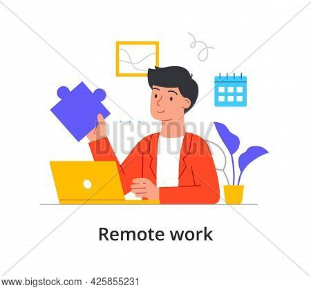 Remote Work Or Telecommuting Concept During Covid Pandemic With Businessman Seated At Laptop Holding