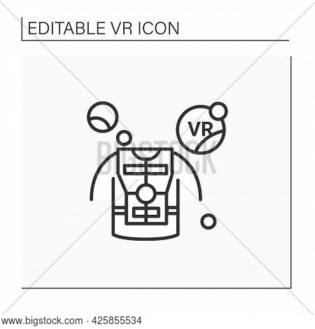 Haptic Suit Line Icon. Special Comfortable Suit To Virtual Reality Gaming. Free Movements. Virtual R