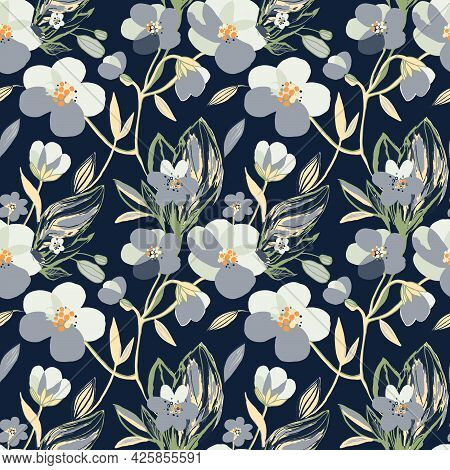 Hand Drawn Grey Blooming Flowers Seamless Pattern. Botanical Floral And Leaves Background. Vector Pr