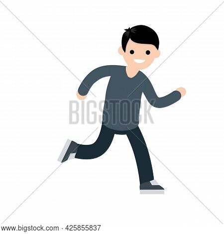 Young Guy In Hoodie. Active Lifestyle. Movement And Walking. Cartoon Flat Illustration. Running And