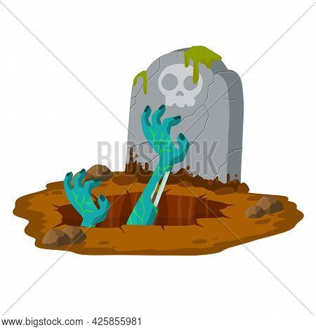 Grave And Tombstone. Hole In Ground. Green Hands Of Dead Zombie. Bones And Rotting Corpse. Scary Ill