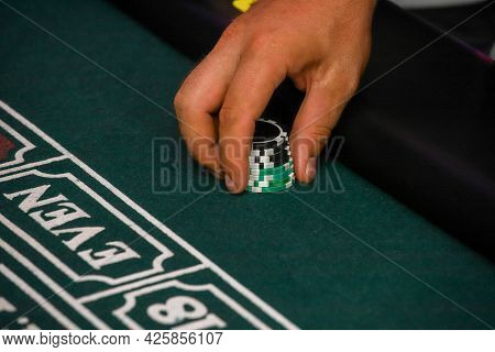 Minsk. Belarus - 25.06.2021 - Green Gambling Table In A Casino. Playing Cards For The Casino. High Q