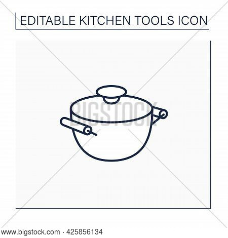 Stockpot Line Icon. Cooking Pot. Special Equipment Used To Cook Soup. Kitchen Tools Concept. Isolate