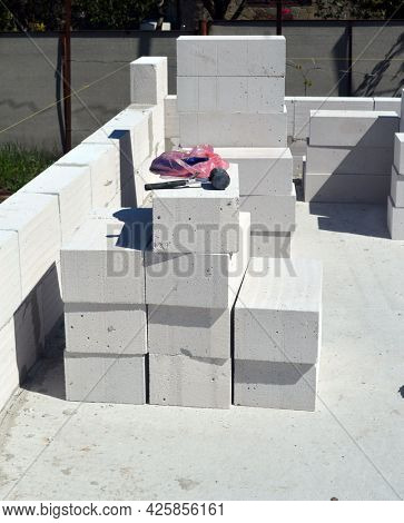 Building house with aerated concrete brick walls.