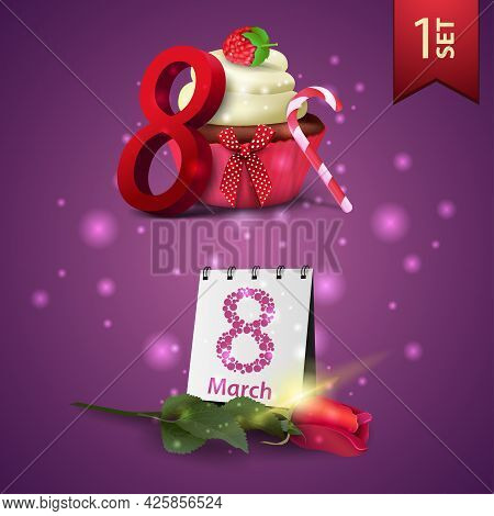 Set Of Women's Day Icons, Cupcake, Raspberry Berries, Rose And Calendar