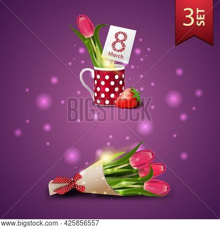 Set Of Women's Day Icons, Tulip In A Mug And Bouquet Of Tulips