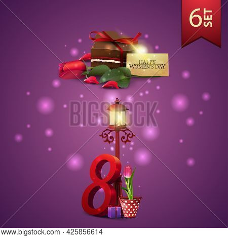 Set Of Women's Day Icons, Candy, Rose And Tulip In A Bucket Under A Lantern