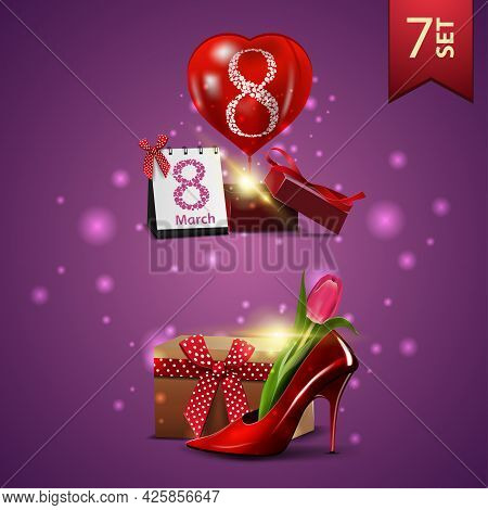 Set Of Women's Day Icons, Gift, Balloon And Women's Shoe With Tulips Inside