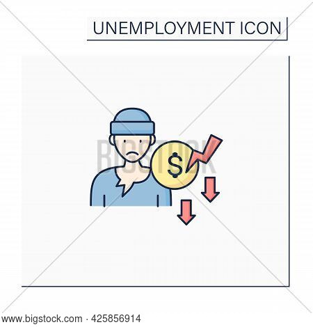 Beggar Color Icon. Penniless Person. Man Without Money, Food, Work. Asking About Cash. Unemployment