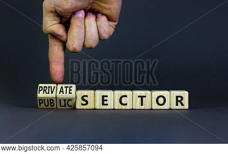Private Or Public Sector Symbol. Businessman Turns Cubes And Changes Words 'public Sector' To 'priva