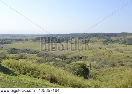 Landscape Or Panorama Of Nature With Low Green Vegetation In The Foreground And In The Background Mo