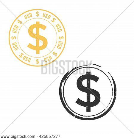 Us Dollar Grunge Stamp Seal Vector Design. Currency Mainstream Symbol With Grunge Stamp Seal Style D