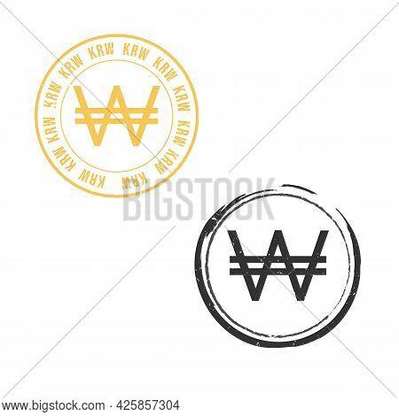Korea Won Krw Grunge Stamp Seal Vector Design. Currency Mainstream Symbol With Grunge Stamp Seal Sty