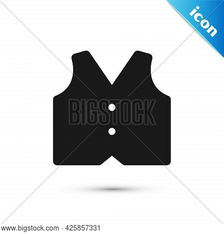 Grey Waistcoat Icon Isolated On White Background. Classic Vest. Formal Wear For Men. Vector