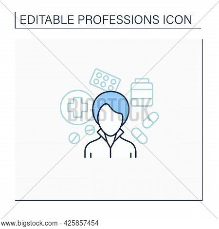 Pharmacist Line Icon. Woman Work In Pharmacies.store, Preserve, Provide Medicine. Important Job.prof