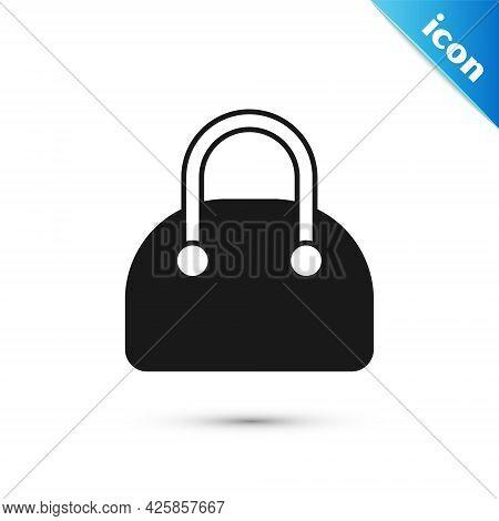 Grey Handbag Icon Isolated On White Background. Female Handbag Sign. Glamour Casual Baggage Symbol.