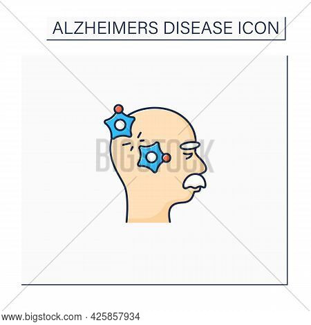 Alzheimer Disease Color Icon.loss Connection Between Nerve Cells.memory Loss, Language Problems, Imp