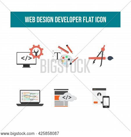 Web Development Flat Icons Vector Image. Web Development Vector Flat Icon Concept Symbols For Web In