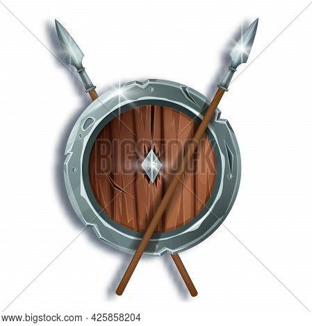 Game Wooden Vector Shield Illustration, Fantasy Medieval War Equipment, Iron Spear, Cartoon Battle A