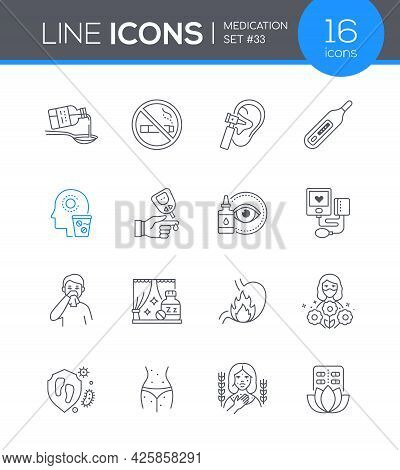 Medication - Modern Line Design Style Icons Set