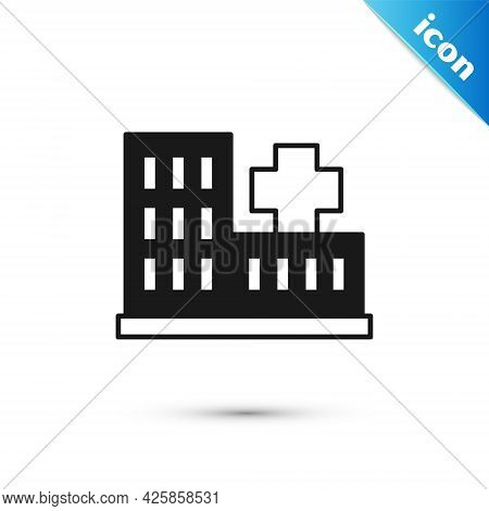 Grey Medical Hospital Building With Cross Icon Isolated On White Background. Medical Center. Health