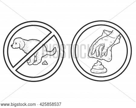Set Prohibition Sign. Puppy Pooping. Clean Up After Your Dog. Dog Owner Cleaning The Lawn With Plast