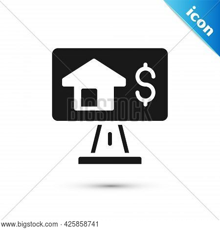Grey Online Real Estate House In Browser Icon Isolated On White Background. Home Loan Concept, Rent,