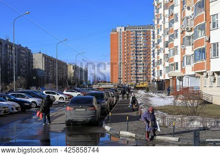 Balashikha, Russia - March 19, 2021. New Residential Houses On The Spring Sunny Day. View Of The Par