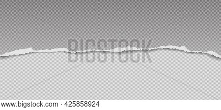 Torn, Ripped Horizontal Squared And Grey Paper Strips With Soft Shadow Are On White Background For T