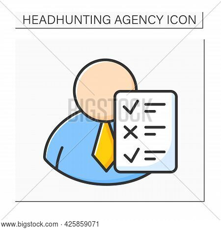 Candidates Assessment Color Icon. Screening Candidates Against Requirements, Psychometric Assessment