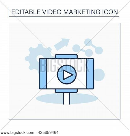Lifestyle Video Line Icon. Digital Content Representation Of Everyday Life And Interests. Live Conte