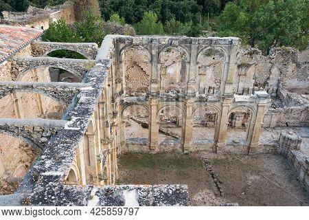 Aerial View Of Old Ruins Of Santa Maria De Rioseco Monastery. Burgos, Merindades, Spain, Europe.