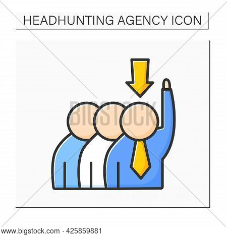 Candidate Sourcing Color Icon. Talent Acquisition. Engagement Of Skilled Worker Candidates. Recruite