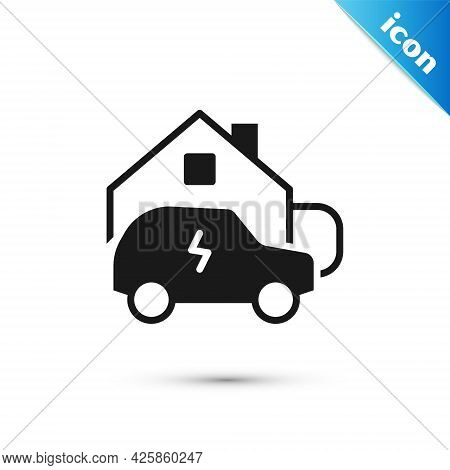 Grey Electric Car Parking Charging At Home Wall Box Charger Station On House Icon Isolated On White