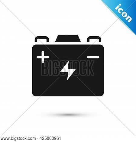 Grey Car Battery Icon Isolated On White Background. Accumulator Battery Energy Power And Electricity