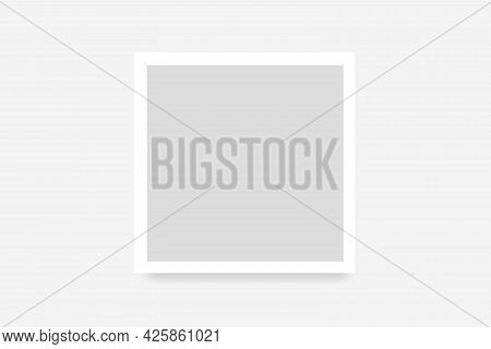 Mockup Frame Photo On Wall. Mock Up Picture Framed. Modern Boarder. Empty Photoframe Isolated On Bac