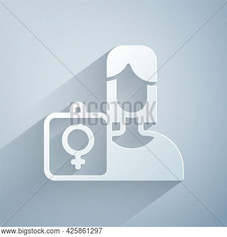 Paper Cut Female Movement, Feminist Activist With Banner And Placards Icon Isolated On Grey Backgrou