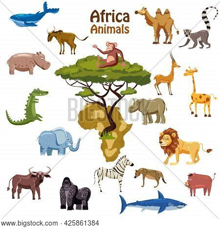 Africa Tropical Animals Map South Continent. Collection Cute Exotic Characters. Vector Illustration
