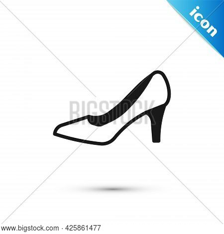 Grey Woman Shoe With High Heel Icon Isolated On White Background. Vector