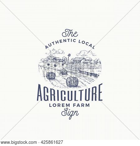 Local Agriculture Farm Retro Badge Or Logo Template. Hand Drawn Rural Farm Landscape Sketch With Win