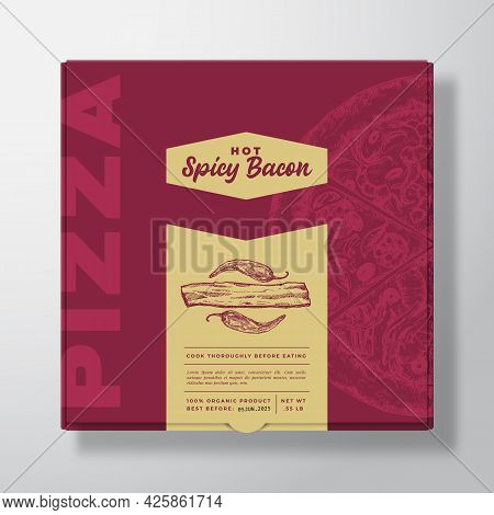 Pizza With Bacon Realistic Cardboard Box Mockup. Abstract Vector Packaging Design Or Label. Modern T