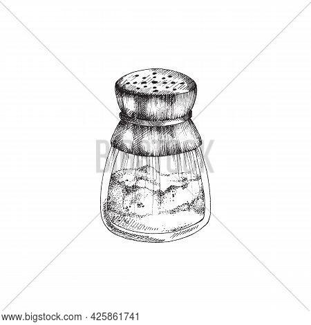 Hand Drawn Salt Shaker Utensil Engraving Monochrome Vector Illustration Isolated.