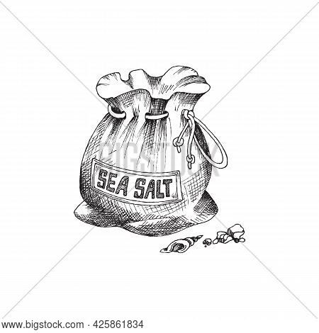 Sea Salt In Sack With Label A Vector Illustration In Engraved Style.