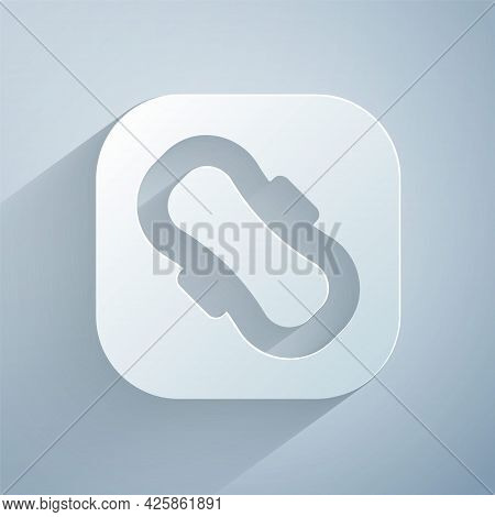 Paper Cut Menstruation And Sanitary Napkin Icon Isolated On Grey Background. Feminine Hygiene Produc