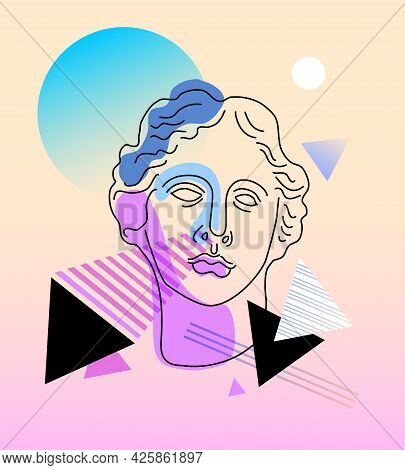 Graphic T-shirt Design, With Classic Statue, Vector Illustration For T-shirt. Modern Collage With An