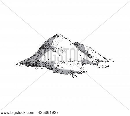 Heap Of Ground Salt, Engraving Hand Drawn Vector Illustration Isolated On White.