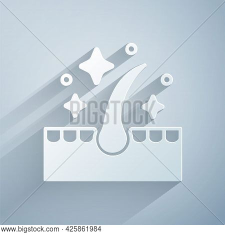 Paper Cut Organic Essential Oil For Hair Care Treatment Icon Isolated On Grey Background. Hair Growt